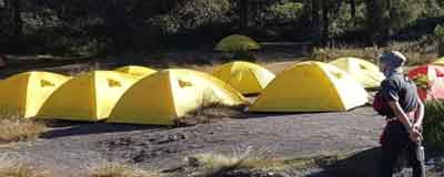 Camping at the slopes of mount Semeru - Java's highest mountain and active volcano