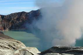 Ijen crater lake in East Java